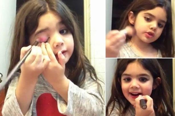 Danne Gomez, 5,  saat memberikan tips riasnya